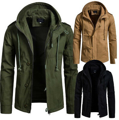 Mens 100% Cotton Jacket Parka Cardigan Coat Military Hooded Winter Casual Coat