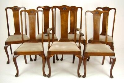 Antique Walnut Chairs, Queen Anne Chairs, Walnut Dining Chairs, B1196