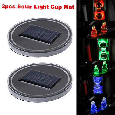 New 2pc Solar Cup Pad Car Accessories LED Light Cover Interior Decoration Lights