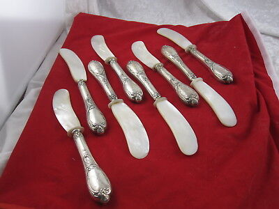 Victorian Sterling Silver Mother of Pearl Caviar Large Knife Set ( 8 )