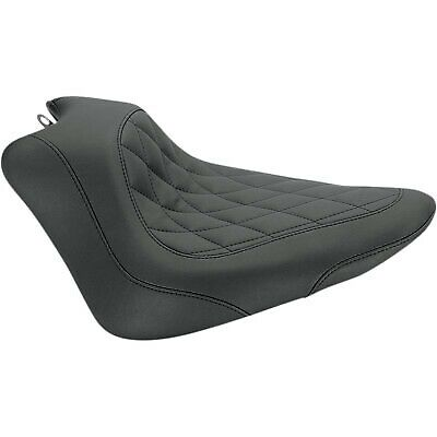 Mustang 76762 Wide Tripper Solo Seat, Diamond Stitch Black Harley Blackline,Soft