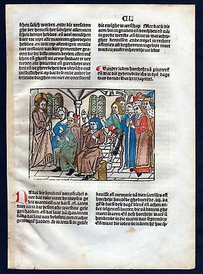 1499 Blatt CL Inkunabel Vita Christi Zwolle Holzschnitt woodcut incunable Dutch