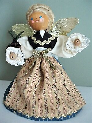 Vintage Hand Made Christmas Angel Tree Topper from Germany