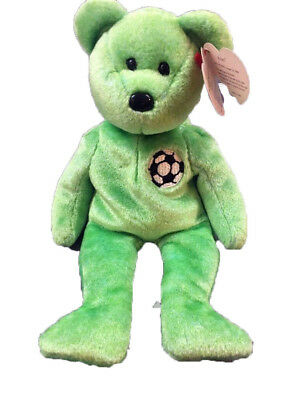 Kicks Green Soccer Ball TY Beanie Babies Teddy Bear MWMT Retired 1998