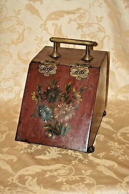 Antique Victorian English Hand Painted Metal w/ Brass Hardware Coal Scuttle