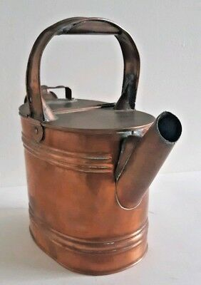 Vintage English Copper Watering Can House Plants Garden Shelf Sitter Hinged Lid