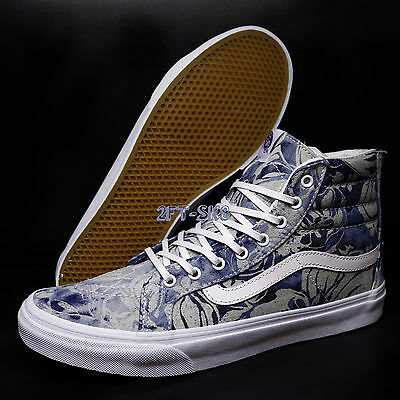 2485d83382 Vans Sk8-Hi Slim Zip Indigo Tropical Blue White Men s Skate Shoes s83106.