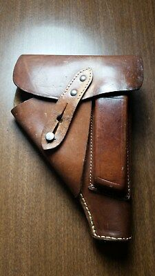 WWII GERMANY WALTHER PP,MAUSER HSC,CZ 27 or SAUER 38h PISTOL GUN LEATHER HOLSTER