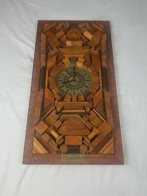 Handcrafted Wooden Clock By Mark F. Mendenhall. Works And Is In Good Condition