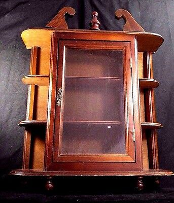 Vintage Wall Hanging Curio Cabinet Shelf Table Top Gl