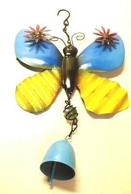 Wind Chime Butterfly Blue Yellow Painted Metal Flowers on Wings Bell Chains New