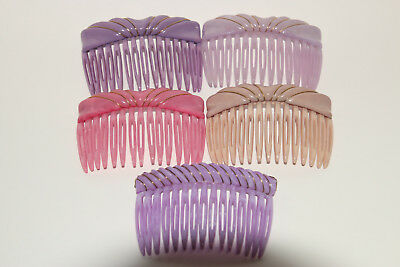 Vintage Set Of 5 Hair Comb Plastic Gold Tone Wire 1970s Paris Diffusion 1979