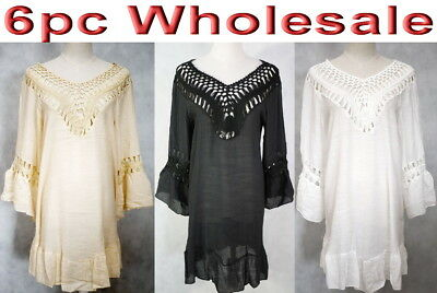 6pc Wholesale Bulk lots Women Cotton Crochet Embroidery Top Free Size Mixed