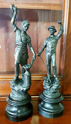 Pair of Antique Victorian Spelter Figures / Figurines / Ornaments / Statues.