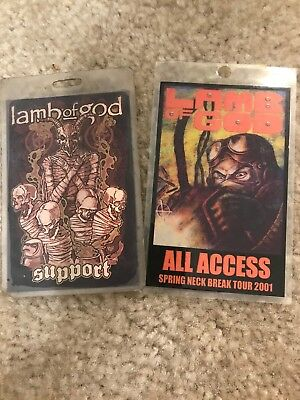 Lamb of God Lot Of 2 authentic concert Laminated Tour Backstage Pass 2001 & 2009