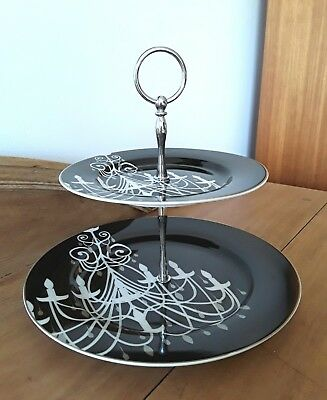 "Black & White Artique Porcelain Two Tier Cake Stand ""Chandelier"""