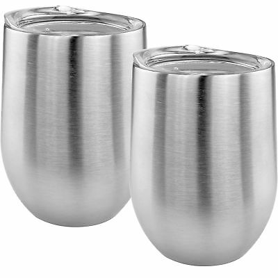 Double Wall Stainless Steel Stemless Wine Glass W/ Lids Insulated 14oz Set of 2