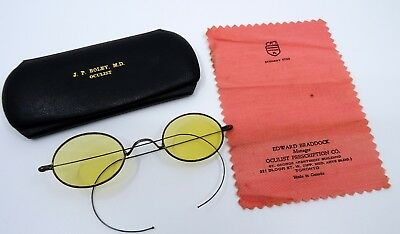 Vintage Antique Old Glasses Eyeglasses Spectacles Yellow Tinted with Case