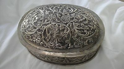Vintage Silver Plate Embossed Biscuit Tin