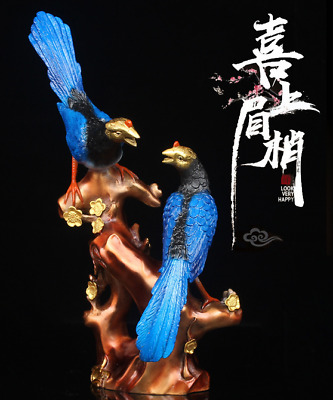 """11"""" Rare Chinese Bronze Painting Fengshui Plum Blossom Tree Magpie Birds Statue"""