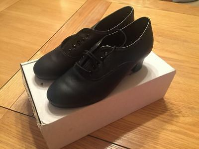 Black Leather Oxford Cuban Heel Character Dance Shoes