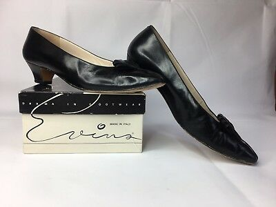 Evins Italian Vtg Womens Black Leather Heels Pumps Wedge Heel Size 8-1/2 AA