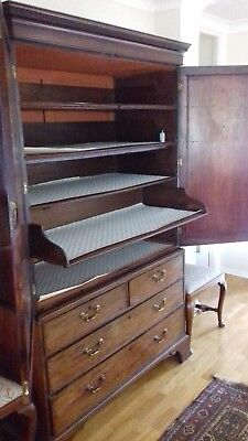 Antique English Georgian Flame Mahogany Linen Press Housekeepers Cupboard