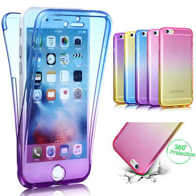360 Degree Gradient Color Full Body Front Back Soft Clear TPU Silicon Case Cover