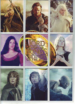 2003 Lord Of The Rings - Return Of The King - 9 Card Set R1-R9 - Topps / Tolkien