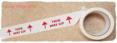 48mm x 66m THIS WAY UP Parcel Sealing Packing Tape Rolls White Printed Red