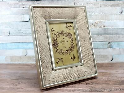 """4X6"""" Brown Snakeskin Style Vintage Photo Picture Frame Wall Decor"""