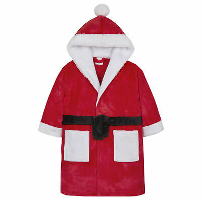 Childrens Santa Dressing Gown Robe Christmas Novelty Unisex Hooded Plush Fleece