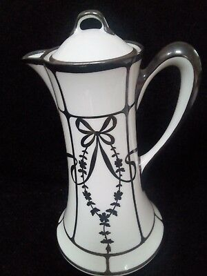 Antique Limoges coffee pot White Porcelain Pure Silver Overlay French c 1863