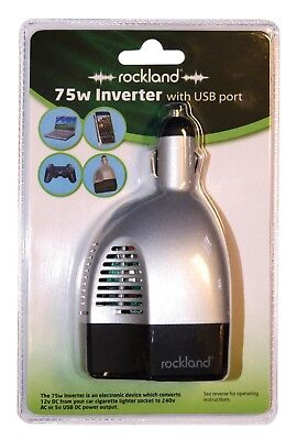 Rockland 75w Power Inverter with USB Port Converts Car 12v DC to 240v AC Power