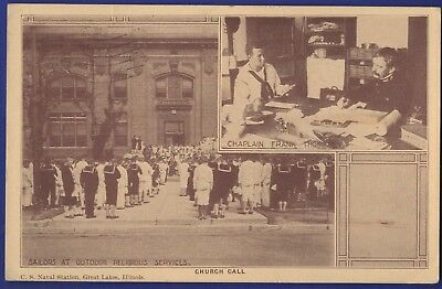 WWI Sailors at Outdoor Religious Services US Naval Station Great Lakes 1918