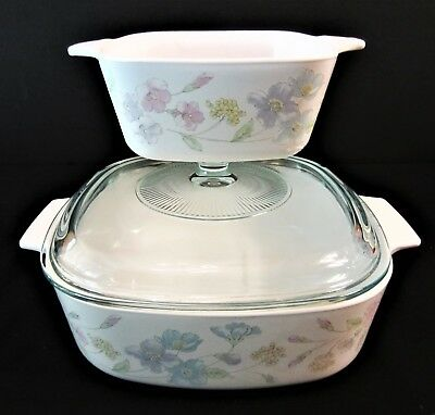 Corning Ware Pastel Bouquet P-43-B & A-2-B 2 Ltr Oven Microwave Casserole Dishes