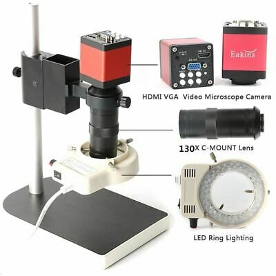 Microscope HD 13MP 60F/S HDMI VGA Industrial Camera+130X C Mount Lens + LED Ring