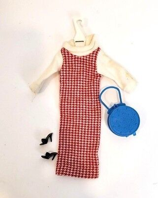 Tressy Doll Neat Knit Houndstooth Dress, Shoes, Blue Bag American Character 60's