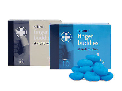 Finger Buddies Bobs Pre-Rolled Bandages Finger Length Protection - White, Blue