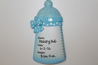 Personalized Ornament Blue Baby Bottle