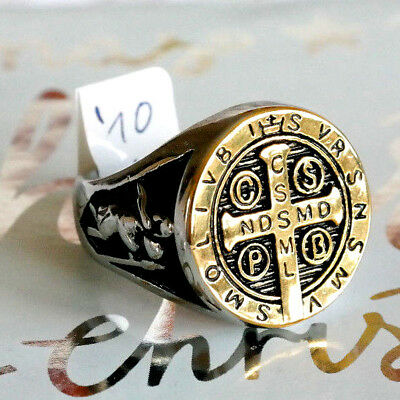 size 11 St Benedict Exorcism Ring protection ring Fisherman Vatican Church cross