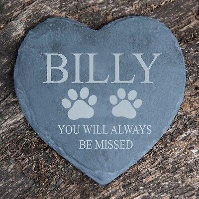 Personalised Pet Memorial Heart Slate - Out Door Plaque or Coaster Engraved Gift
