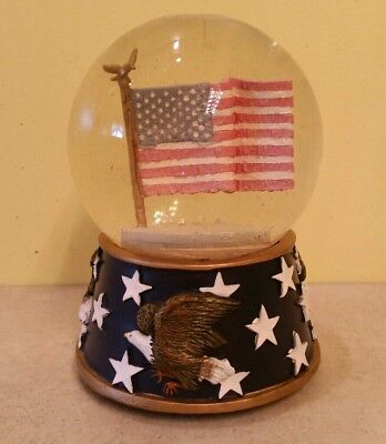 Snow Globe American flag with Eagles music box plays National Anthem