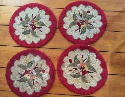 """Four 15"""" Vintage Primitive Handmade Hooked Chair Pads Red With Floral Design"""