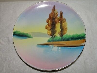 Antique Hand Painted Made In Japan Cherry Blossom Mark Swan-Scenic Plate 6.25""