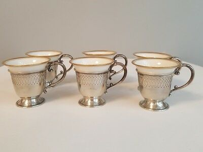 6 GH French Sterling Silver Reticulated Holders & Lenox Porcelain Demitasse Cups