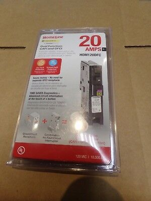 HOM120DFC Homeline 20-Amp Single-Pole Dual Function Circuit Breaker, 1-Inch NEW