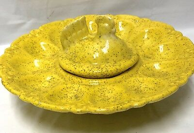 Vintage Ceramic Deviled Egg Plate w/Chicken bowl center Hand painted 9""