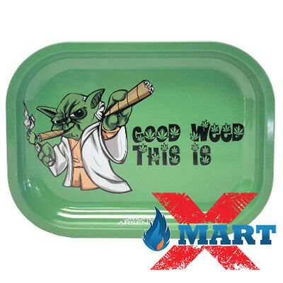 "Smoke Arsenal GOOD WE*ED THIS IS ""YODA"" Tobacco Metal Small Rolling Tray 7x5"