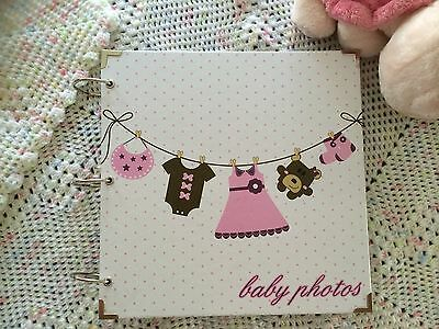 Baby Keepsake Scrapbook Photo Album Hard Cover in white & pink
